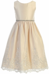 Sweet Kids SK782 Champagne Metallic Scallop Lace With Satin