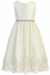Sweet Kids SK782 Ivory Metallic Scallop Lace With Satin