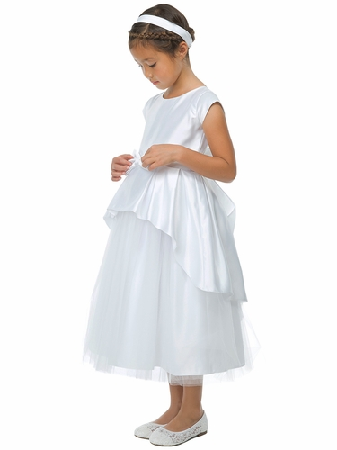 Sweet Kids SK783 Satin and Tulle w/ Cascading Peplum & Rhinestone Brooch