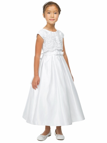 Sweet Kids SK785 White Embroidered Mesh Crop Top Satin Communion Dress w/ Pockets