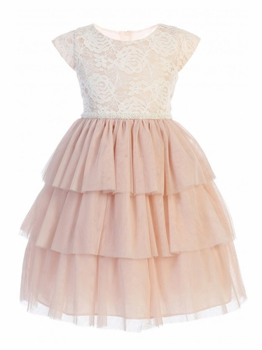 Sweet Kids SK800 Blush Pink Sweet Lace & Tiered Mesh w/ Pearl Trim