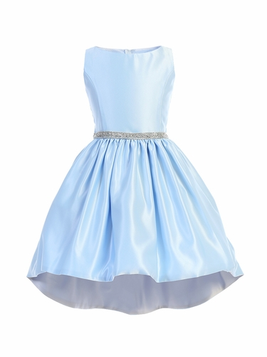 Sweet Kids SK801 Light Blue & Silver Hi-Low Satin Cocktail Dress w/ Pocket