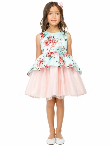 Sweet Kids SK802 Mint Floral Print Peplum and Tulle