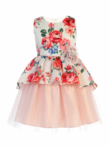 Sweet Kids SK802 Off White Floral Print Peplum and Tulle