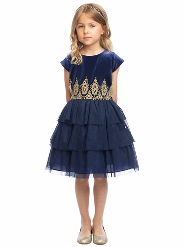 Sweet Kids SK815 Navy Velvet & Tiered Mesh w/ Gold Lace