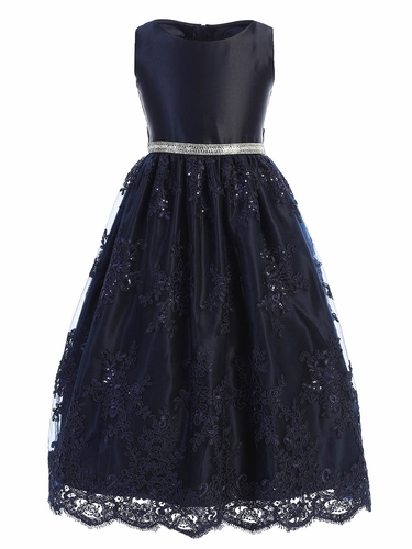 Sweet Kids SK817 Navy Satin Embroidered Scallop Lace Dress