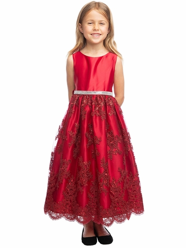 Sweet Kids SK817 Red Satin Embroidered Scallop Lace Dress