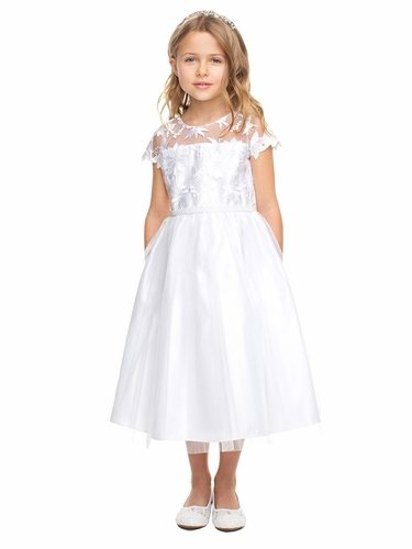 Sweet Kids SK836 Floral Embroidered Lace & Crystal Tulle
