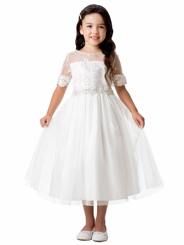 Sweet Kids SK902 Scallop Lace Sleeve w/ Floral Waist Trim Dress