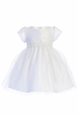 Sweet Kids SKB902 Cap Lace Sleeve Lace w/ Floral Waist Trim Dress