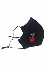 Teacher Theme Adult Embroidered A+ Apple 100% Black 2-Ply Cotton Face Mask
