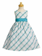 Teal Seersucker Flower Girl Dress