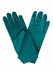 Teal Short Satin Gloves
