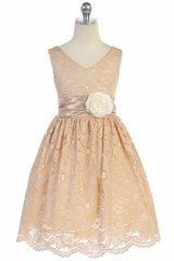 TGI Kids 4343 Champagne Lace V-Neck Dress w/ Sash & Flower