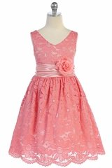 TGI Kids 4343 Coral Lace V-Neck Dress w/ Sash & Flower