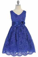 TGI Kids 4343 Royal Blue Lace V-Neck Dress w/ Sash & Flower