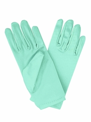 Tiffany Blue Short Satin Gloves