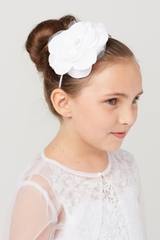 Tip Top 194 White Big Flower Headband w/ Rhinestone & Pearl Center
