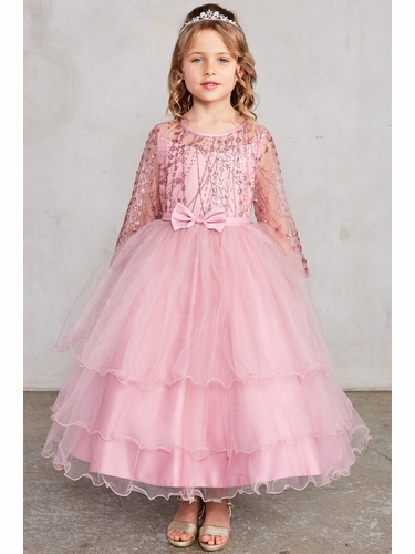 Tip Top 5798 Dusty Rose Glitter Mesh & Tulle Dress