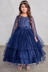 Tip Top 5798 Navy Glitter Mesh & Tulle Dress