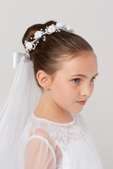 Tip Top 777 Bun Flower Crown w/ Veil