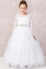 Tip Top Kids 1180 Long Sleeve Lace Communion Dress