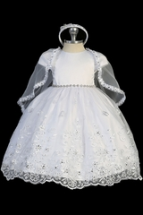 Tip Top Kids 2298 White Embroidered Organza Satin Dress w/ Rhinestone Belt
