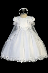 Tip Top Kids 2321 White Satin & Tulle Dress w/ Floral Applique