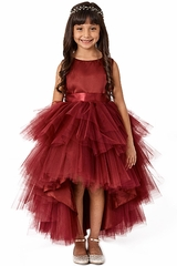 Tip Top Kids 5658 Burgundy Ruffled Tulle High Low Dress