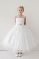 a1ab68fc22cb3 Tip Top Kids 5712 White Illusion Neckline Dress w/ Rhinestone Belt