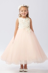 Tip Top Kids 5738 Ivory/Blush 3D Floral Lace Bodice w/ Tulle Skirt