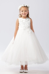 Tip Top Kids 5738 White 3D Floral Lace Bodice w/ Mesh Skirt
