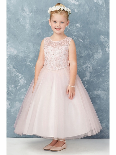 Tip Top Kids 5747 Blush Cord Embroidered Satin & Tulle Dress w/ Illusion Neckline