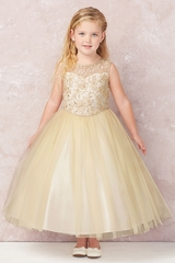 Tip Top Kids 5747 Champagne Cord Embroidered Satin & Tulle Dress w/ Illusion Neckline
