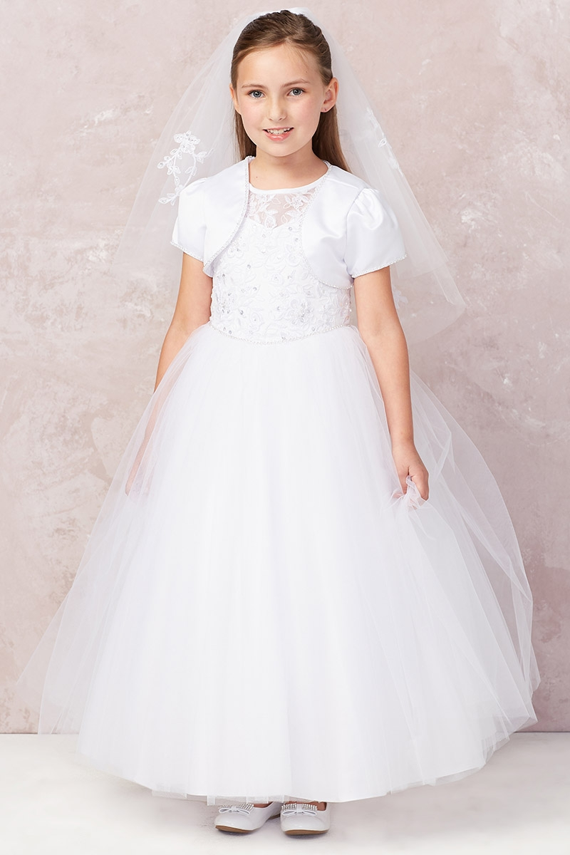 4f4b7ceb8a6 ... White Cord Embroidered Communion Dress w  Illusion Neckline   Bolero.  Click to Enlarge ...