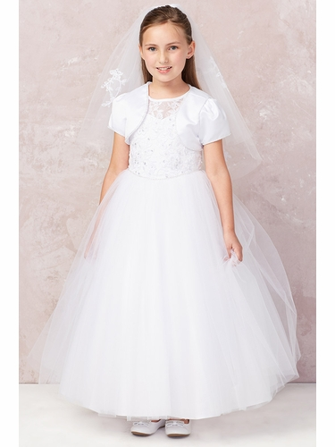 Tip Top Kids 5747L White Cord Embroidered Communion Dress w/ Illusion Neckline & Bolero