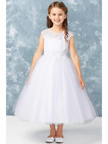 Tip Top Kids 5755 Lace Illusion Neckline w/ 3D Flowers and Tulle Skirt