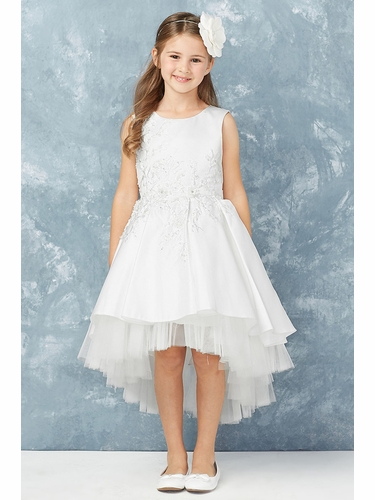 Tip Top Kids 5760 White Satin High Low Dress w/ 3D Floral Lace Applique