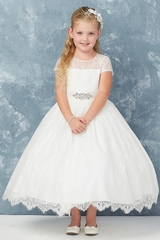 Tip Top Kids 5766 Illusion Neckline All Lace w/ Removable Rhinestone Sash