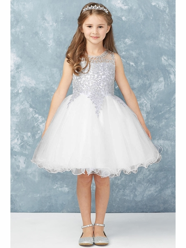 Tip Top Kids 7013 Short Dress w/ Silver Lace