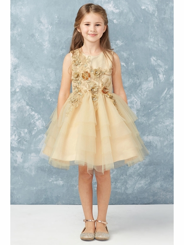 Tip Top Kids 7014 Champagne Short Dress w/ Metallic Applique