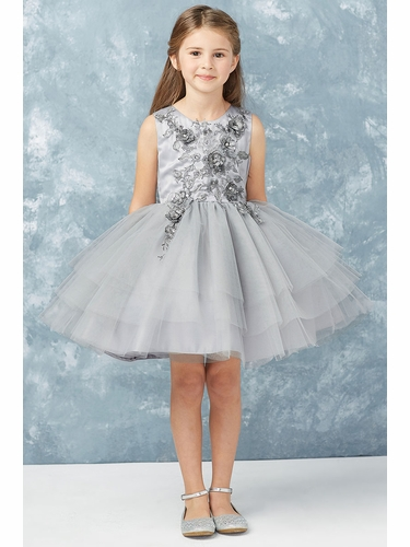 Tip Top Kids 7014 Silver Short Dress w/ Metallic Applique