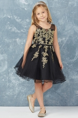 35d4310ee27 Tip Top Kids 7017 Black Illusion Neckline w  Gold Lace Applique   Tull.