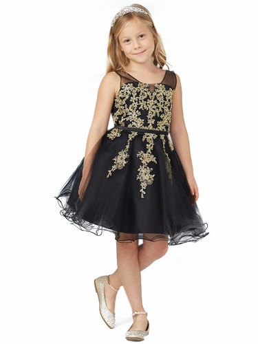 Tip Top Kids 7017 Black Illusion Neckline w/ Gold Lace Applique & Tulle Skirt