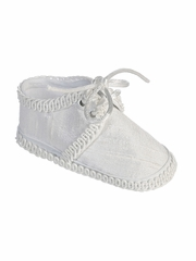 Tip Top Kids S6 White Silk Infant Crib Shoes