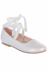 Tip Top S126 White Ribbon Ankle Tie Mary Jane