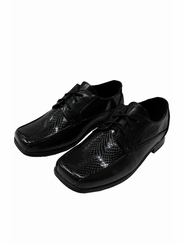 Toddler/Youth Boys Black Snake Dress Shoes