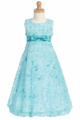 Turquoise Embroidered Tulle A-line Dress