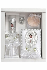 Virgin Mary Baptism Candle Set w/ New Testament