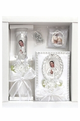 Virgin Mary Communion Candle Set for Girls w/ Spanish New Testament